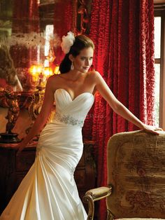Satin Fit N Flare Sweetheart With Beading Floor Length Great Wedding Gowns