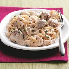 Stroganoff-Style Spaghetti 'n' Meatballs Recipe from Taste of Home -- shared by Sharon Ylkanen of Marenisco, Michigan