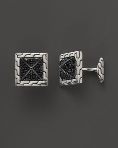 John Hardy Men's Bedeg Sterling Silver Pyramid Cufflinks with Black Sapphire | Bloomingdale's