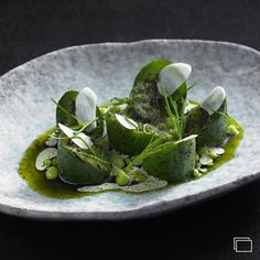 Cucumbers, sauce of burnet, and dried river trout by chef Ben Shewry of Attica restaurant from Melbourne, Australia #TheArtOfPlating  Check out a new gallery of his food on http://theartofplating.com