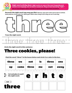 THREE cookies, please! This weeks sight word: three. Sight words are some of the most frequently used words in our language, but are hard to sound out. They are best learned by sight. How many times can you and your child spot the word three this week? Preschool Sight Words, Teaching Sight Words, Sight Words List, Sight Word Practice, Sight Word Games, Sight Word Activities, Literacy Activities, Educational Activities, Literacy Centers