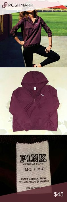 ⛰🍃🍁 PINK BURGUNDY ANORAK 🍁🍃⛰ ⛰🍃🍁 PINK ANORAK 🍁🍃⛰. IT'S ANORAK SEASON my fellow posh loves! FABULOUS condition, only TINY flaw is the dog is cracking so so so minimally it doesnt show but I felt I should disclose it. Still has so much life left dont let that deture you, it's a great addition to any true PINK closet! SMOKE FREE HOME BUNDLE AND SAVE 💜💜💜😘🍁🍃⛰ PINK Victoria's Secret Jackets & Coats