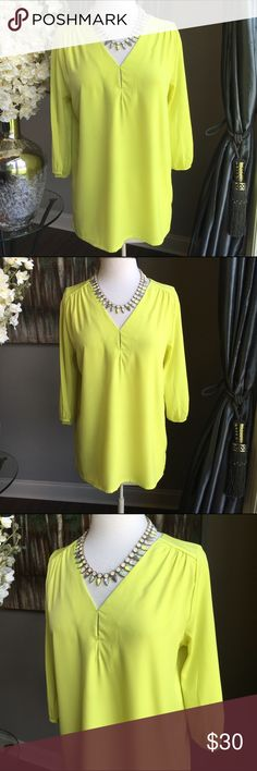 ASOS Honey Punch Chartreuse Yellow Blouse Honey Punch Blouse Sold by ASOS - size medium - chartreuse yellow - v neck with double stitched accent detail - 3/4 sleeve - subtle pleating on shoulders - polyester material - like new condition - J Crew necklace shown with blouse can also be purchased in my closet - reasonable offers welcomed - bundle discount available ASOS Tops Blouses