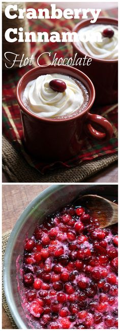 Rich and creamy hot chocolate that gets a sweet-tart edge from a cranberry cinnamon infusion.