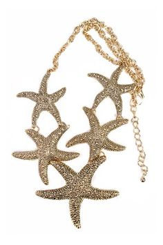 The Starfish Linked Necklace in Gold by Art Box from MFredric.com