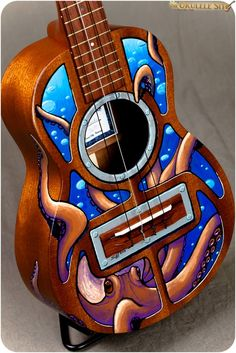 Ana'ole Octopus Tenor -Hawaiian Art Originals w/Seth Womble Octopus Painting, Guitar Painting, Guitar Art, Guitar Tattoo, Cool Ukulele, Tenor Ukulele, Ukelele Painted, Painted Guitars, Ukulele Design