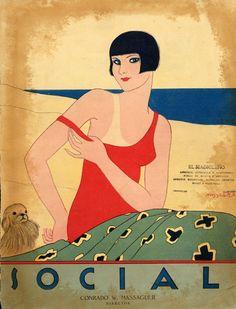 Louise Brooks inspired 1926 cover Social magazine November issue by Conrado W. Vampire Knight, Art Vampire, Dengeki Daisy, Vintage Cuba, Vintage Art, Koi, Cosplay Steampunk, Illustrations, Illustration Art