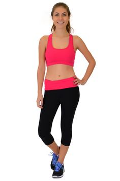 b011269403e7a Rock our solids with our Hot Pink Foldover Capri and Hot Pink Bra! What is  your favorite color?