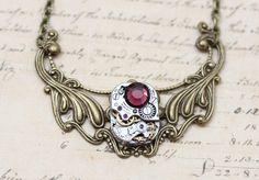 Steampunk Necklace OOAK Burgundy Choker by inspiredbyelizabeth, $45.00