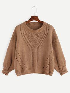 Khaki Drop Shoulder Hollow Sweater — 0.00 € ---------------------color: Khaki size: one-size