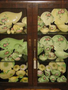 Carlton Ware Collection in an Australian Art Deco Blackwood China Cabinet. Look at that collection of Carlton Ware!