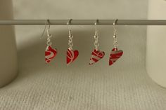 Earrings made from Coca-Cola beverage can and glossy accents