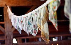 vintage handkerchief bunting.