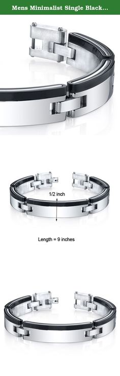 Mens Minimalist Single Black Stripe Mirror Finish Stainless Steel Bracelet. This stylish Stainless Steel bracelet will be a guaranteed favorite for your jewelry collection. A black stripe accentuates the mirror finish and creates a high-end jewelry vibe. The links are constructed with a combination of black plated and polished Stainless Steel. The easy-to-wear folding clasp completes the look with a secure and comfortable fit. The bracelet measures 9 inches in length and is approximately…