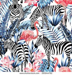 pink watercolor flamingo, zebra and blue palm leaves tropical seamless background