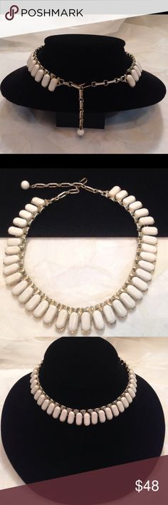 Vintage Coro White Thermoset Choker Necklace Vintage signed Coro gold tone and white thermoset choker necklace. In very good preowned condition. Vintage Jewelry Necklaces