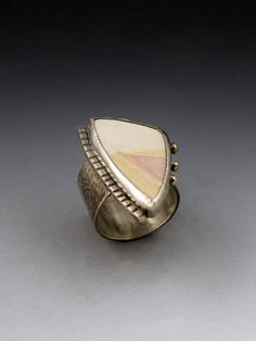 Creamy Peach Jasper  Ring big by MicheleGradyDesigns, $88.00