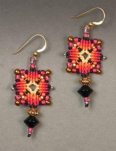 Joan Babcock Earrings - macrame with beads
