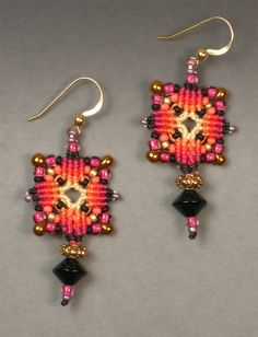 Joan Babcock Earrings - macrame with beads