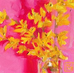 Forsythia - oil by ©Kelley MacDonald (via DailyPaintworks)