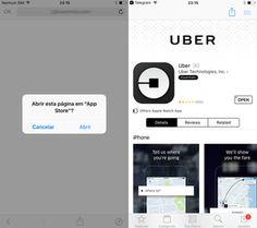 No iPhone, página leva a download do aplicativo do Uber (Foto: Reprodução)