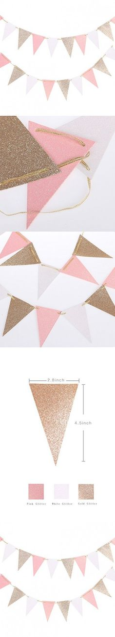 Ling's moment 16 Feet Vintage Style Mini Triangle Flag Bunting Banner for Wedding Birthday Nursery Teepee Home Decor Bachelorette Back-to-School Party, Gold+White+Pink, 30 Flags, Pack of 1