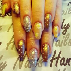 Gold nude and glitter coffin shape acrylics
