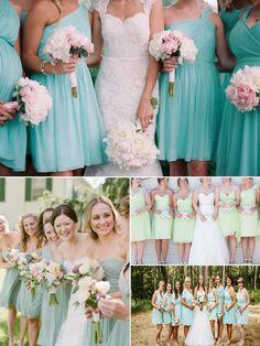 mix and match mint bridesmaid dresses
