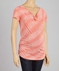 This CT Maternity Coral Swirl Maternity & Nursing Drape Neck Top by CT Maternity is perfect! #zulilyfinds