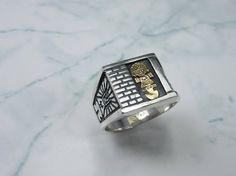 Silver and Gold Ring Men Silver Ring Handmade Ring Ring for
