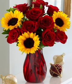 Red roses and sunflowers. My staple autumn flower arrangement :))