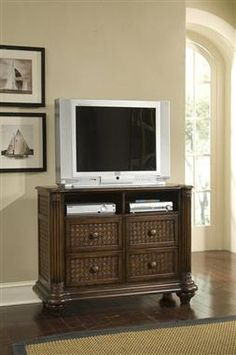 Palm Court II Tropical Coco Brown Wood Media Chest