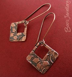 All sizes | Copper clay square flower earrings - 24388f | Flickr - Photo Sharing!