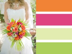 Bouquet Colour Palettes ~ Choosing A Colour Scheme | JulietMcKeePhotography.co.uk  Exotic tropical pink and orange bouquet by Stems Of Southwater, UK.  #pink #orange #tropical