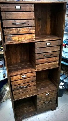 this grand wooden pallet cabinet is also ideal that can be used in any part of the house. It has got a number of drawers that are the smartest storage hacks. Stuff inside all the accessories that couldn't make their place anywhere else. This vintage pallet wood cabinet would also add a lot to the beauty of your house.