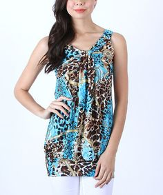 $11.99 Look at this #zulilyfind! Aqua Leopard & Chain Blouson Tunic #zulilyfinds