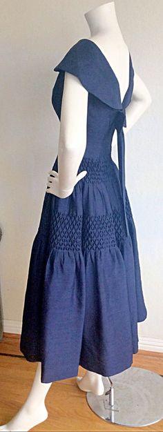 Vintage Navy Blue Rockabilly Dress / Silk Bow Sailor Dress W/ Nautical Theme / Mad Men Henri Bendel Royal Blue Full Skirt Dress Latex Fashion, Emo Fashion, Gothic Fashion, Rock Chic, Rock Style, African Fashion Dresses, African Dress, Pin Up Outfits, Gareth Pugh