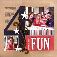 Ideas for Scrapbookers: Layouts with BIG Letters/Numbers + Template Scrapbook Sketches, Scrapbook Page Layouts, Scrapbook Paper Crafts, Scrapbook Cards, Scrapbook Titles, Paper Crafting, Big Letters, Letters And Numbers, Birthday Scrapbook