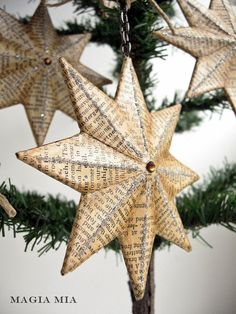 5 Paper Mache Star Ornaments ...... Decoupaged Dictionary Pages, Glass Glitter, Topaz Crystal