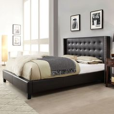 Queen size Black Faux Leather Upholstered Bed with Wingback Headboard