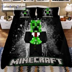 Minecraft Bedding, Minecraft Bedroom, 7th Birthday Party Ideas, Birthday Parties, Boys Bedding Sets, Minecraft Stuff, Cool Beds, Creepers, Bed Sheets