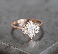 One Carat Rose Gold Diamond Ring with Marquise cut diamond in rose gold, Minimalvs Jewelry Engagement Ring Diamond Engagement Ring Marquise Diamond Rose Gold Diamond Ring, Marquise Cut Diamond, Diamond Wedding Rings, Bridal Rings, Diamond Engagement Rings, Halo Engagement, Diamond Earrings, Solitaire Rings, Wedding Bands