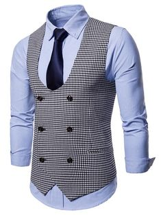 Houndstooth U Neck Double Breasted Waistcoat