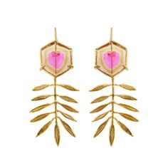 Bijoux – Tendance : Leaf Earrings with Watermelon Tourmaline Glass Earrings, Leaf Earrings, Chandelier Earrings, Golden Earrings, Diamond Earrings, I Love Jewelry, Jewelry Art, Jewellery Box, Star Jewelry