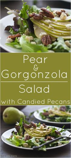 Pear and Gorgonzola Salad with Candied Pecans. Pear and gorgonzola salad with candied pecans. Of course, gluten-free! Healthy Salad Recipes, Vegetarian Recipes, Cooking Recipes, Candied Pecans For Salad, Pear Salad, Pear Gorgonzola Salad Dressing Recipe, Salad Dressing Recipes, Salad Dressings, Summer Salads