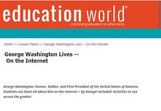 """This is an image from this resource on the Internet4Classrooms' """"Activities for Presidents Day at Internet 4 Classrooms"""" resource page:    George Washington's Life.    Education World's resources with George Washington's timeline, quizzes, and classroom activities."""