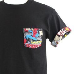 Marvel T-Shirt, Spider Man Shirt, Spiderman Pocket Roll-up T-Shirt, Avengers T-shirt, Super Hero T-s Spiderman Dress, Spiderman Marvel, Marvel Comics, Marvel Shirt, Avengers, Roll Up Sleeves, Textiles, Disney Outfits, Types Of Shirts