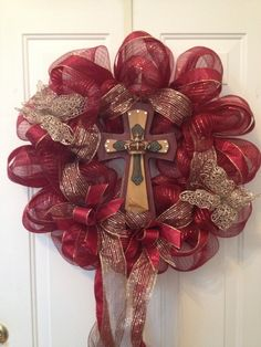 Deco Poly Mesh Wreaths | Cross wreath with burgundy poly deco mesh. | Easter Wreaths