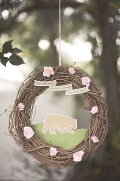 bear forest or woodland creature themed first birthday. DIY wreath CUTE!