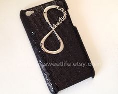 iPod Touch 4 case, One Direction forever directioner bling glitter iPod Touch 4 case , black spark hard case for iPod Touch 4 case. $9.99, via Etsy.